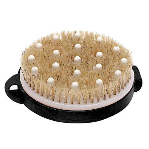 Exfoliating Brush Dry Brush For Wet or Dry Brushing, Body Brush With Natural Bristle For Glowing Skin, Cellulite Treatment, Lymphatic Drainage and Blood Circulation (Round-With Massage Nodule)