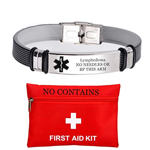 Personalized ID Bracelets for Women Men Stainless Steel Healthcare Medical Lymphedema Wristband Patient First Aid Alert Jewelry for Emergency to Save Life,Customized