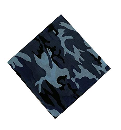 Sonnenscheinschuhe® 1 x Bandana Tuch Camouflage Blau Grau 100% Baumwolle Kopftuch Halstuch Schal