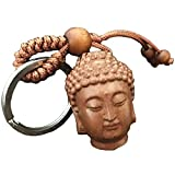 Buda llaveros Forma de la Cabeza de melocotón, Colgante Cadena de Llave del Coche y...
