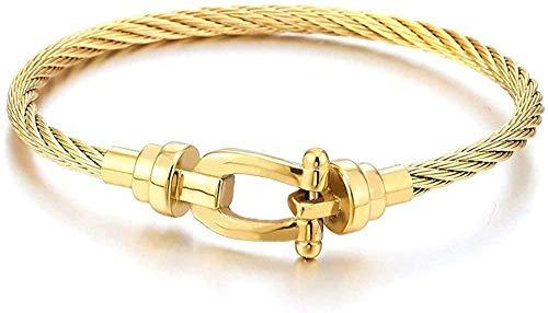 Ahuyongqing Co.,ltd Pulsera de Brazalete de grilletes de Ancla de Cable Trenzado de Acero Inoxidable de Color Dorado para Mujeres y Hombres