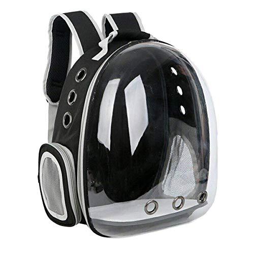 Watkings Rucksack für Reisen, Wandern, Camping und Haustiere, mit Luftblasen-Design, tragbar, für kleine und mittelgroße Katzen und Hunde Schwarz