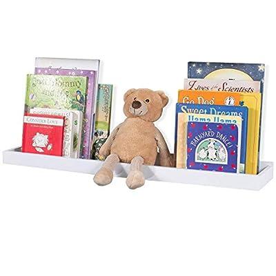 "Wallniture Philly White Wall Shelf Kids Room Decor, Floating Book Shelf and Tray Toy Storage Organizer, 23.75"""