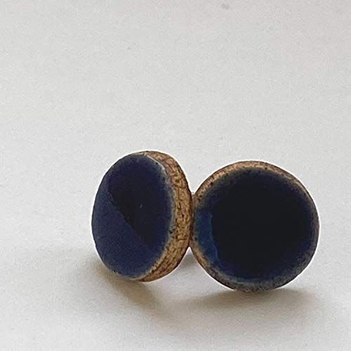 Unique Handmade Ceramic Stud Earrings for Women; Small Dark Blue Circles; Cute Jewellery Accessories; Gift for Her Mum Sister Girls Friends