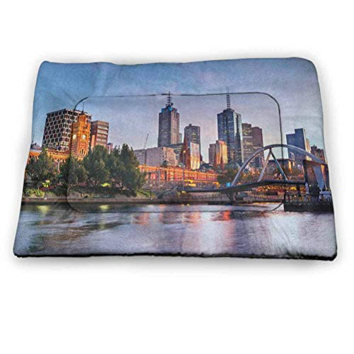 Pet Crate Mat Dog Bed City Machine Wash & Dryer Friendly Early Morning Scenery in Melbourne Australia Famous Yarra River Scenic Lovely Pet Supplies for Cats Kittens Orange Green Pale Blue (21