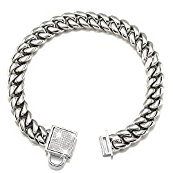 Abaxaca Top Dog Collar White Silver Tone Stainless Steel 14mm Big Dog Luxury Training Collar Cuban Link with Zirconia Lock Necklace Chain Choker for Dog