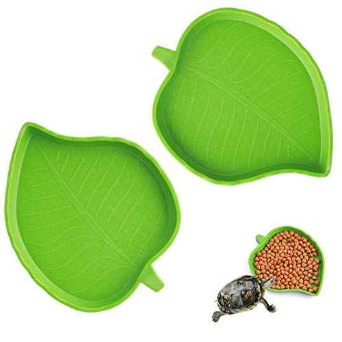 QXUJI 2 Pack Leaf Reptile Food and Water Bowl, Reptile Pet Plate Dish, for Tortoise Corn Snake Crawl Lizard Pet Drinking and Eating