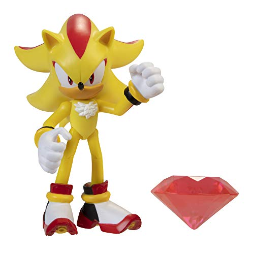Sonic The Hedgehog 4-Inch Action Figure Modern Super Shadow with Chaos Emerald Collectible Toy , Yellow