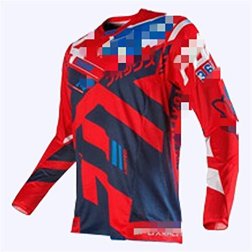 Maillot Transpirable de Secado rápido de Manga Larga para Hombre Traje de Descenso al Aire Libre, Camisa de Bicicleta de montaña Ropa de Carreras, Ciclismo Tops MTB Motocross Jersey (B7,4XL)