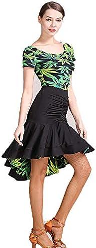 QMKJ Practice Dance Outfits Originaldesigns Falbala Grün fürale Drucke Latin Belly Dance Kostüm Halloween Dance Lacy Lange  el volumin Rock Large Größe XL 2XL