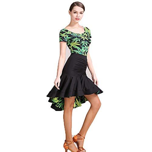 QMKJ Trajes de Baile de práctica diseños Originales Falbala Verde Estampado Floral Latino Danza del Vientre Traje de Baile de Halloween de Encaje Mangas largas Falda voluminosa Gran tamaño XL 2XL,L