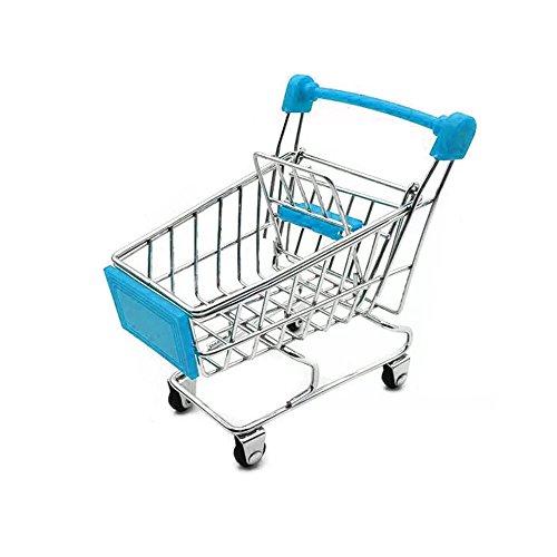 LW Mini Shopping Cart Supermarket Handcart Mini Shopping Cart Mini Supermarket Storage Toy (Blue)