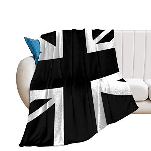 Promini Manta de franela de color blanco y negro con diseño de bandera de Inglaterra y tacto de terciopelo ultra felpa, manta suave para sofá, colcha para cama de 152 x 200 cm