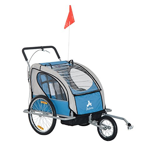 Aosom Elite 2-in-1 Three-Wheel Bicycle Cargo Trailer & Jogger for Two Children with 2 Safety Harnesses & Storage, Blue