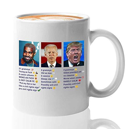 Kanye West Coffee Mug - Kanye West Joe Biden Donald Trump Comparison Usa Presidetial - Kanye West President Usa 2020 Kim Kardashian Yeezy Yeezus Mug