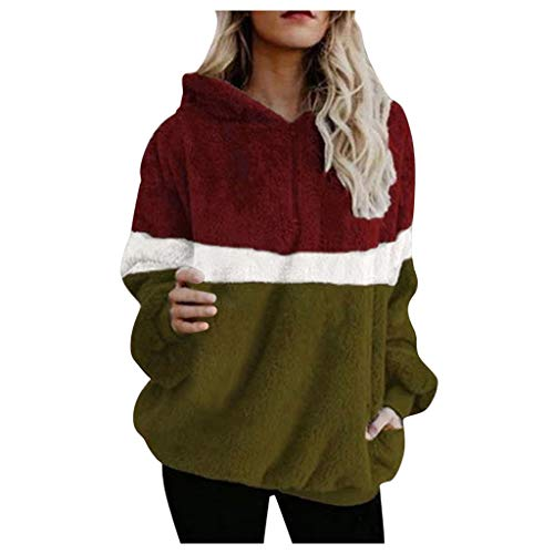 Learn More About Kiminana Women's Long-Sleeved Hooded Collar Stitching Plush top Pullover Sweaters f...