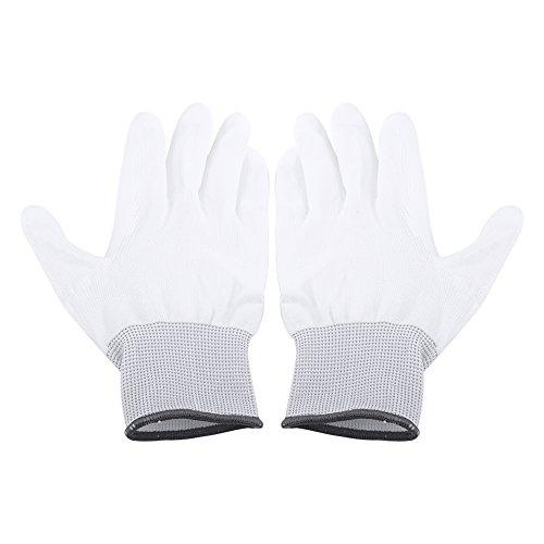 Walfront 1 Paar Anti-Statik Gleitschutz Handschuh PU Beschichtet Palm Anti-Rutsch Wearable Handschuhe für PC Computer Telefon Reparatur Sicherheit Arbeiten( L(Grau))