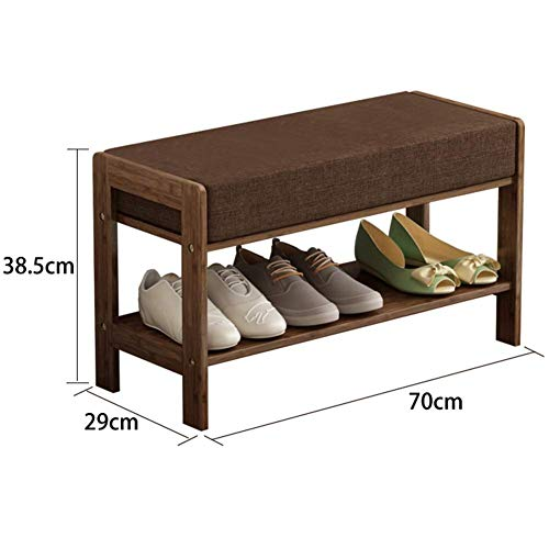 Barkruk Foot Stool Resto Ottomane opbergdozen rond woonkamer stoel 4 poten voor woonkamer slaapkamer (kleur: bruin, grootte: 50 x 29 x 38,5 cm) barkruk