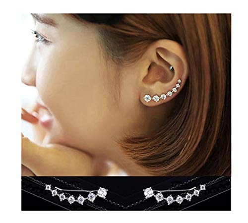 Reffeer 7 Crystals Ear Cuffs Climber Earrings for Women S925 Sterling Silver Earrings Hypoallergenic Earring