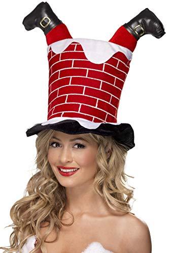 Smiffys Unisex Kerstman in de open haard hoed, One Size, Rood, 38335