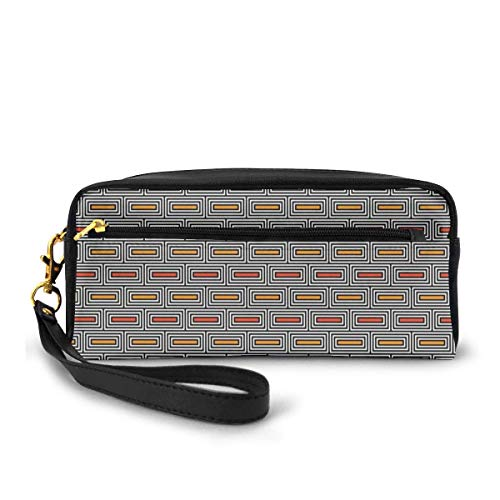 Pencil Case Pen Bag Pouch Stationary,Repeating Rectangular Blocks Abstract Ethnic Style with Bricks Motif,Small Makeup Bag Coin Purse