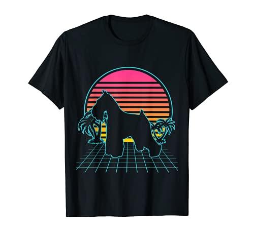 Miniatura Schnauzer Dog Vintage 80s Vaporwave Estética Camiseta