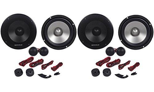 """(2) Pairs Rockville RVL6KIT 6.5"""" 1600 Watt Component Car Speakers Aluminum Cones"""