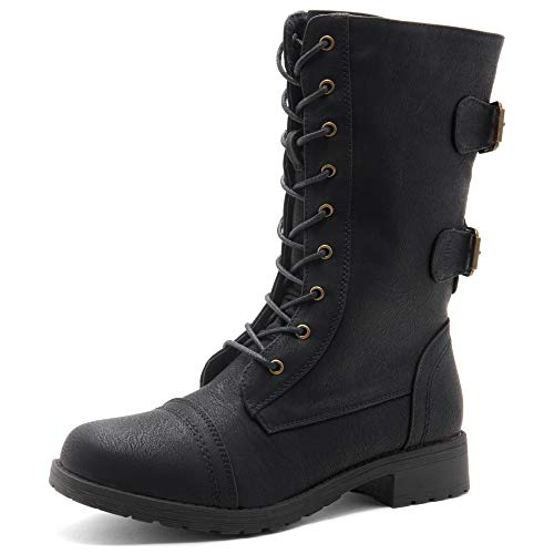 Herstyle Florence2 Women's Ankle Lace Up Military Combat Booties Mid Calf Boots Black 10.0