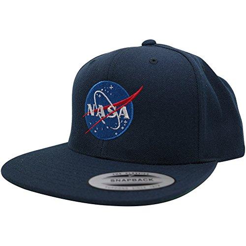 Flexfit Original Premium Snapback Cap with NASA Insignia Embroidery (One Size, Navy)