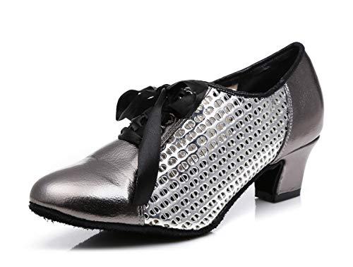 Hanfike Zapatos de noche de tacón bajo punta cerrada con cordones bombas de fiesta, gris, 35.5 EU
