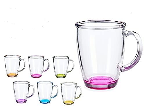 Set de 6 tazas con asas de cristal fuerte con colores en el fondo de 32cl