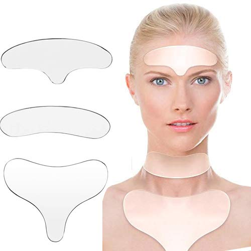 Forehead Neck Chest Wrinkle Remover Anti Wrinkle Pad for Forehead Neck Chest Set of 3 Reusable 100% Medical Grade Silicone Most-Effective Way To Get Rid & Prevent Chest Wrinkles While You Sleep