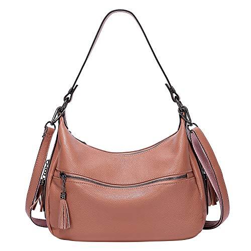 ALTOSY Damenhandtasche Weiches Leder Hobo Umhängetasche Crossbody Tasche mit Quaste (A60601, Lachsfarbe)
