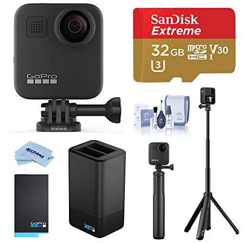 GoPro MAX Waterproof 360 Camera with Touch Screen, 5.6K30 Video 16.6MP Photos Pro Bundle with Grip + Tripod, Dual Charger, Battery, 32GB microSD Card, Cleaning Kit