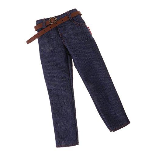 MagiDeal 1/6 Pantalones Vaqueros de Hombre con Cinturón Accesorios de Ropa de 12 Pulgadas Figura de Acción - Vaqueros Clásicos