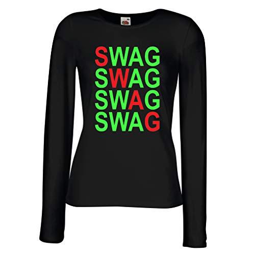 lepni.me Camisetas de Manga Larga para Mujer Swag Fashion, Hipster Clothing Urban Street Style Outfits (XX-Large Negro Verde)