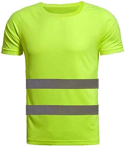 Chaleco de ciclismo para hombre Fluorescente arnés ciclismo chaqueta camiseta reflectante de alta visibilidad superior de secado rápido ropa de trabajo del equipo de cuello redondo manga corta de segu