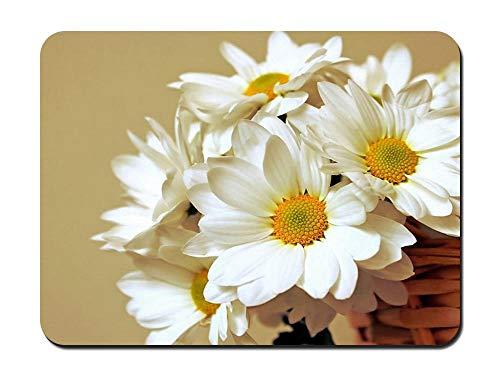 Muismat - Grote witte bloemen in de mand rechthoek antislip rubberen muismat gaming muismat