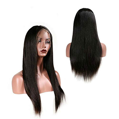 Lace Front Human haar pruik lange rechte Natural Hair Color 10 tot 22 inch for vrouwen (Size : 22inch)