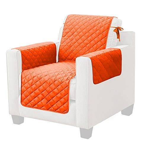 Universal-Sesselbezug mit Schnürsenkeln zur Befestigung von Sessel, Modell Sofabezug, Einzelsitzer, Orange