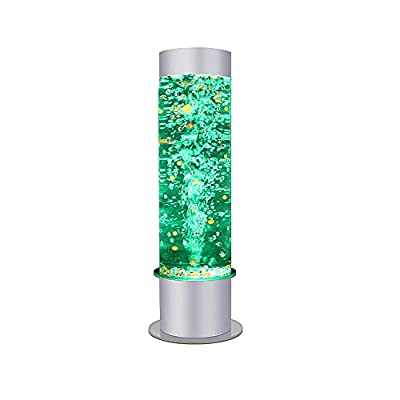 SUMGREEN 24'' Sensory LED Bubble Tube Floor Lamp with 10 Fake Fishes & Widened Base, 8 Changing Light Colors Remote Water Tower Tank with Wall Bracket Accessory Aqua Night Light for SPD