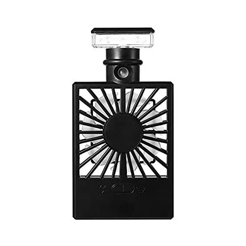 ZHUANQIAN Mini Ventilador, Aerosol Portátil Spray Ventilador Eléctrico Recargable Ventilador Mano Refrigerador Aire Acondicionado Humidificador (Color : Black)