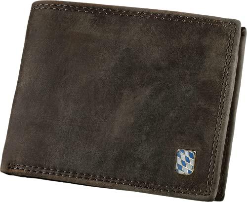 Hodalump Echt-Leder Geldbörse, RFID-Schutz, Querformat, Münzfach, Bayern Prägung