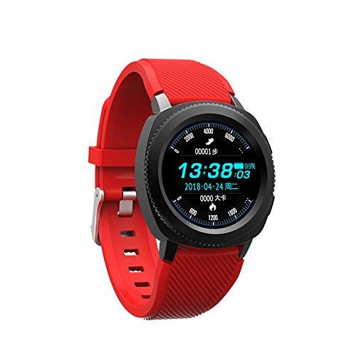 Bluetooth intelligente orologio multi-funzione impermeabile passo frequenza cardiaca monitoraggio del sonno Bluetooth chiamata informazioni movimento sincrono braccialetto ( Color : Red - Silicone )