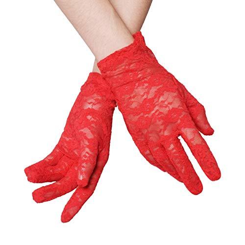 WITERY - Guanti da sposa da donna, in pizzo, con dita intere, in seta, per matrimonio, danza, lunghezza al polso Red Taglia unica