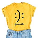 BLACKMYTH Women's Graphic Funny T Shirt Cute Tops Teen Girl Tees Yellow Small