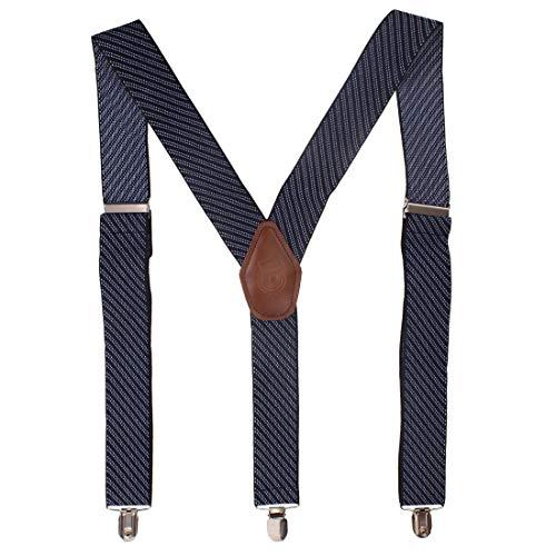 Peluche Men's Eloquent Stripes Blue Coloured 3cm Strap Width Elastic Suspenders