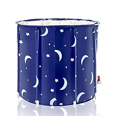 Vanessa Portable Foldable Bathtub 25.5in 5-Layer PVC Adult Portable SPA Freestanding Bathtub Thickened PVC to Keep Warm for Longer Suitable for Adults Babies Children and Elderly Color in Starry Sky