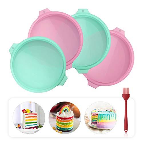 Aitsite Rotondo Tortiera di Silicone ,Stampo Rotondo Round Cake Pan Tin Antiaderente , Stampo per Torta in Silicone di Alta qualità da 8 Pollici, Set di 4.
