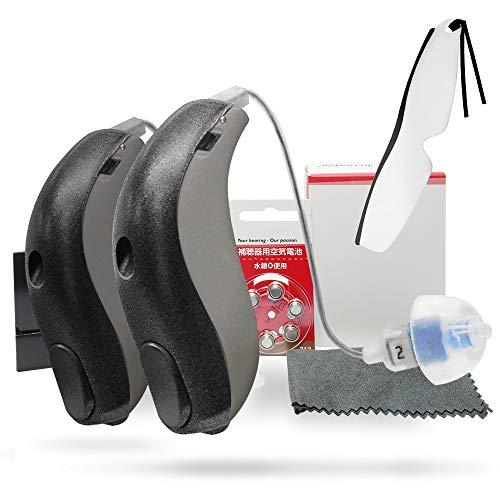 最新型 チャネルフリー デジタル 補聴器 耳かけ式 アクトスPR RICタイプ 管理医療機器認証番号:第228AIBZX00020000号 しおり型ルーペ付 (両耳用)